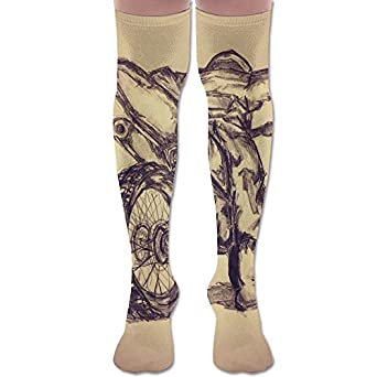 d5823abec3e Retro Motocross Tattoo Sketch Polyester Cotton Over Knee Leg High Socks Fun Unisex  Thigh Stockings Cosplay