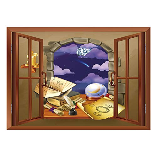 SCOCICI Removable 3D Windows Frame Wall Mural Stickers/Astrology,Medieval Ancient Castle Window with Crystal Ball Clouds Parchment Decorative,Teal Grey White and Purple/Wall Sticker Mural -