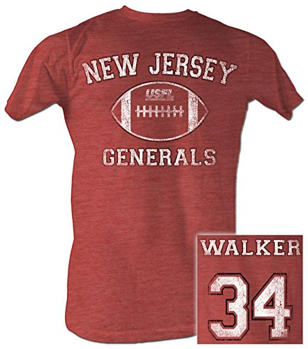 - USFL New Jersey Generals T-shirt Herschel Walker Adult Red Heather Tee (XL)