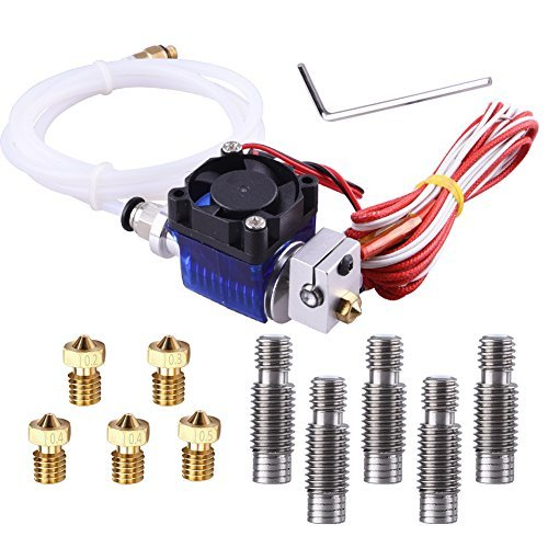 EAONE All-Metal V6 J-Head Hotend Full Kit with 5 Pcs Extruder Brass Print Head + 5 Pcs Stainless Steel Nozzle Throat for E3D V6 Makerbot RepRap 3D Printers by EAONE