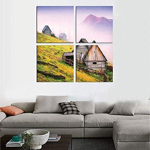 Abstract 絵画 アートパネル アートフレーム カルパティア山脈の自然の木造住宅ウクライナ早朝の霧の写真 30x30cm ファームハウスの装飾 HD しゃしん 4パネルセット(木枠付きの完成品)