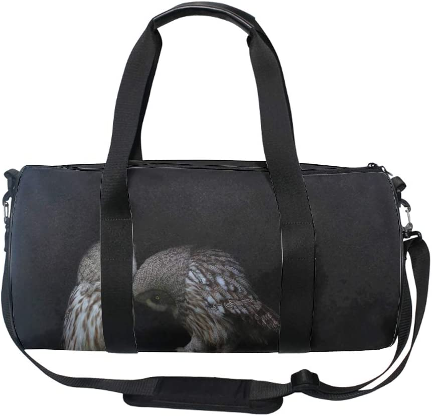 Owl Tree Branch Green Wings Round Gym Duffle Bag Drum tote Fitness Travel Bag Rooftop Rack Bag