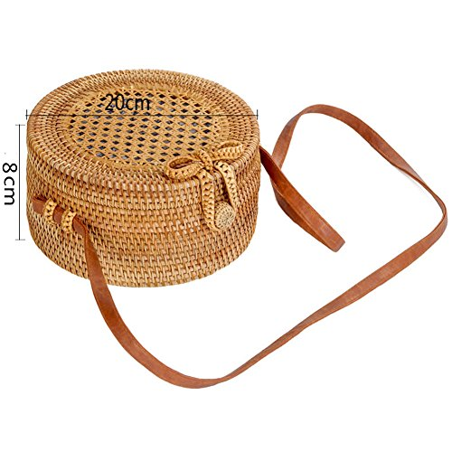 Shoulder Round Pu Bag Leather Handwoven Ruiatoo Bow Crossbody Straps Clasp Rattan Od0xanqw