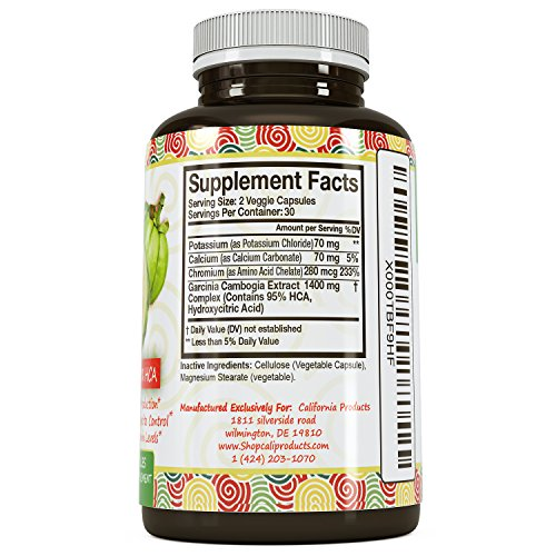 Pure 95% HCA Garcinia Cambogia Extract, #1 Premium Formula for Weight Loss & Appetite Suppression Highest Grade, Best Premium Quality Calcium Free USA Made By California Products