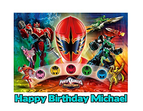 (Power Rangers Mystic Force Image Photo Cake Topper Sheet Personalized Custom Customized Birthday Party - 1/4 Sheet - 79759)