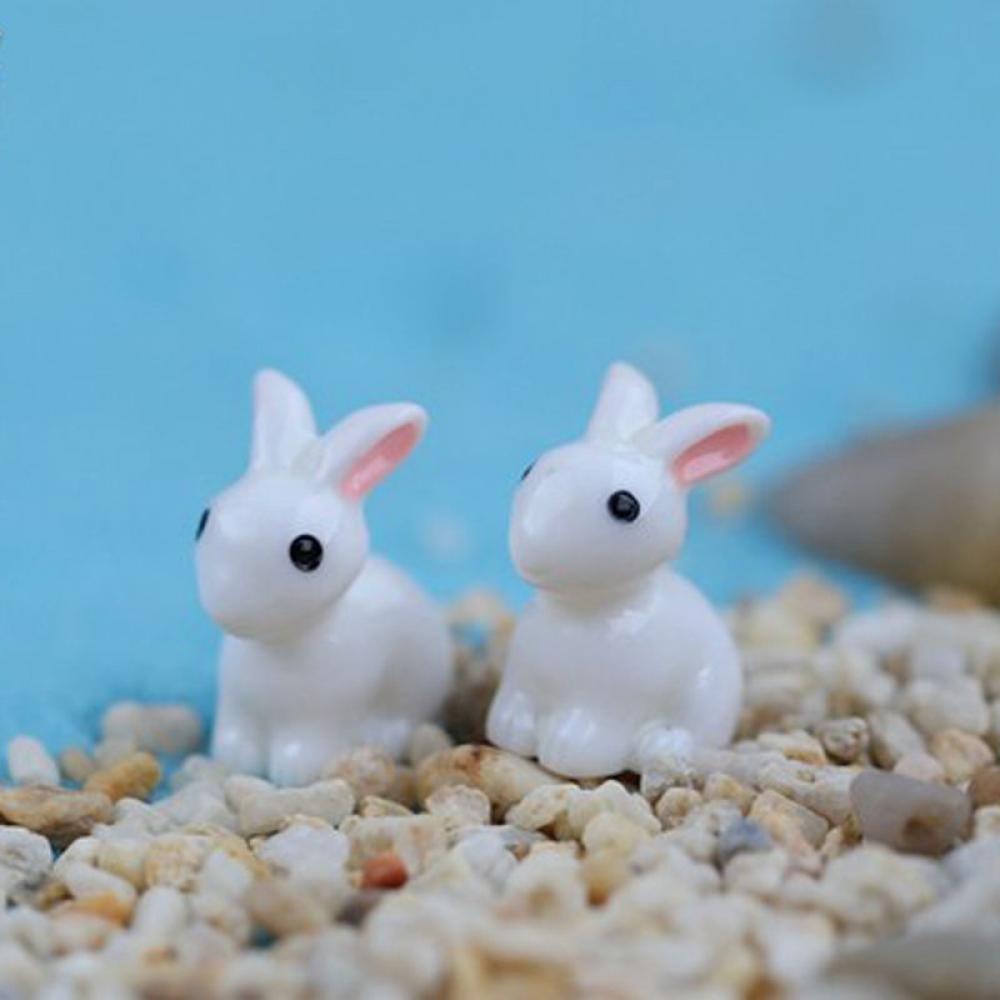 GOOTRADES Mini Rabbit Garden Ornament Miniature Figurine Plant Pot Fairy Garden Decor Gift pack of 2