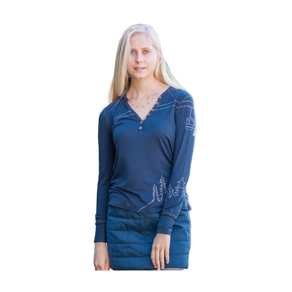 Alp-n-Rock Women's Off Piste Relaxed Fit Henley Tops (Dress Blues,S)