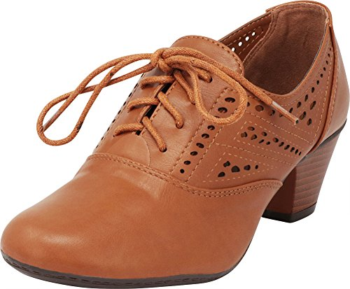 (Cambridge Select Women's Closed Round Toe Vintage Inspired Laser Cutout Lace-Up Stacked Low Heel Oxford Pump,6.5 B(M) US,Tan Pu)