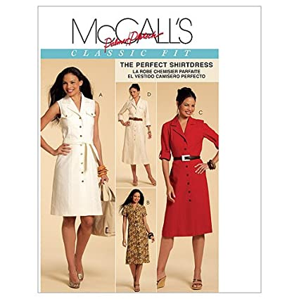 McCalls Patterns M5847 Misses Shirtdresses In 3 Lengths and Sash, Size E5 (14