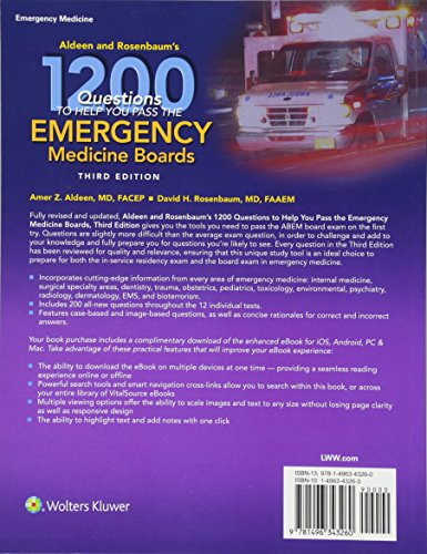 Aldeen and Rosenbaum's 1200 Questions to Help You Pass the Emergency Medicine Boards - http://medicalbooks.filipinodoctors.org