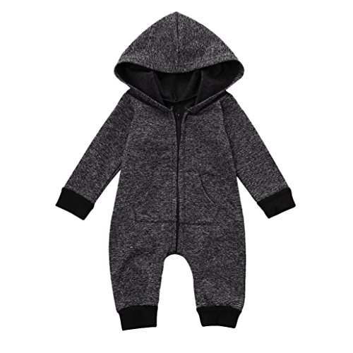FEITONG Cute Infant Baby Boys Girls Romper Hooded Jumpsuit Bodysuit Clothes Outfit (Gray, 6-12Month)
