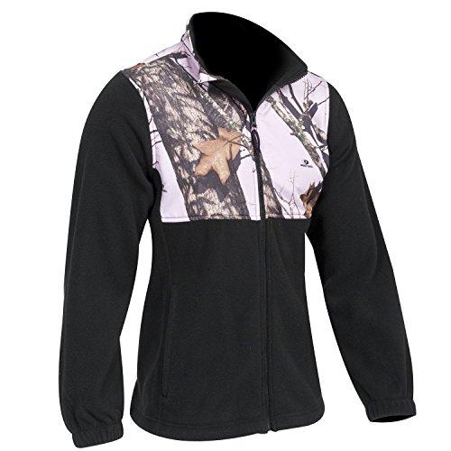 Mossy Oak Pink Snow Camo & Black Fleece Jacket, Womens S-XXL (Mossy Oak Pink Snow, Large)