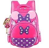 Cute Bow Girls Backpack Waterproof Kids School Bags for Primary Students Pink