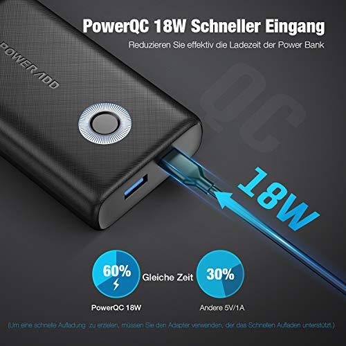 POWERADD Powerbank EnergyCell 10000mAh QC 18W Power Bank Quick Charge 3.0 Extern Akku Portable Charger Tragbares Ladegerät für iPhone Samsung Huawei iPad Tablets Nintendo Switch und Mehr Smartphone