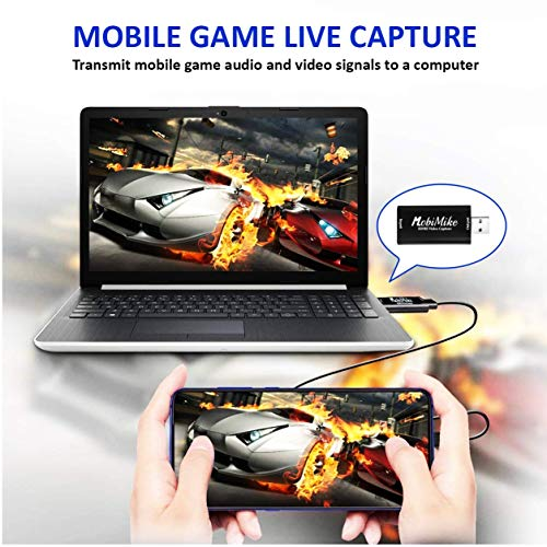 MobiMike Audio Video Capture Card, HDMI capture card to USB 2.0, Record via DSLR Camcorder, Action Cam for High Definition Acquisition, Live Broadcasting/Screen Sharing/Video Recording/Live Conference (1080 @ 30HZ)