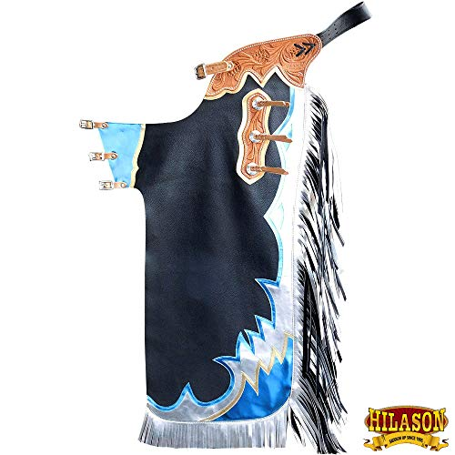 HILASON Ch879T-F Black Bull Riding Genuine Leather Rodeo Western Chaps
