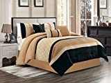 7-Pc Avery Quatrefoil Clover Embroidery Pleated Stripe Comforter Set Beige Tan Black Queen