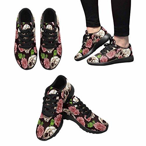 Route De Sports Doux Casualprintprint Womens Courir Des Chaussures De Marche Modèle De Crânes Et Roses Roses Multi 1