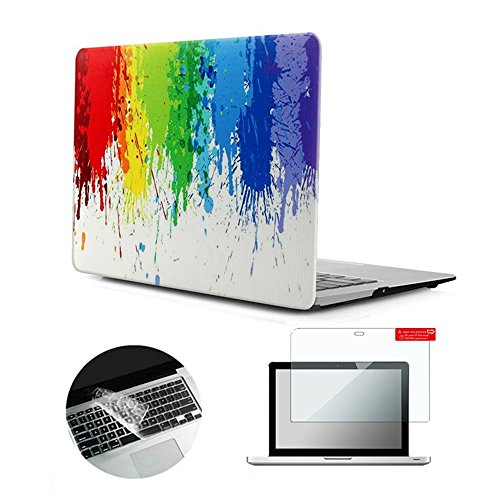 Se7enline A1278 Macbook Pro Case Designer Art Pattern Frosted Hard Shell Cover for 13 inch Macbook Pro with Transparent Silicone Keyboard Skin and Clear Screen Protector, Colorful Watercolour