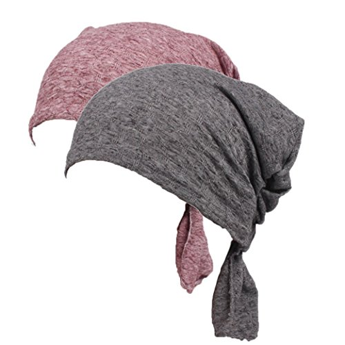 Women's Cotton Turban Headwear Chemo Beanie Cap for Cancer Patients Hair Loss (Bean Paste&Gray) (Toss Lace Pillow)