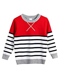 FULL BLESSING Unisex Striped Sweatshirt Sleeved Crew Neck Knitted Pullover 4 Color