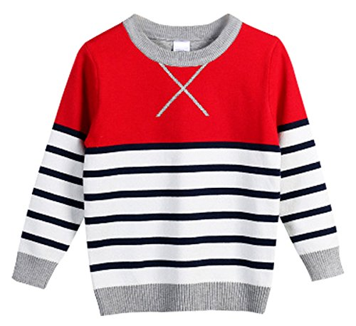 FULL BLESSING Boy Girl Long Sleeve Cable Knit Sweatshirt With Crew Neck Red