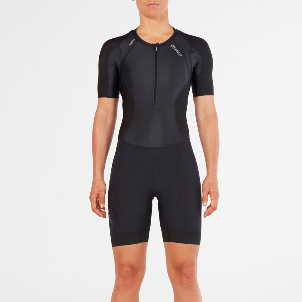 2 x UレディースCompression Sleeved Trisuit X-Large ブラック/ブラック B079H3454Q