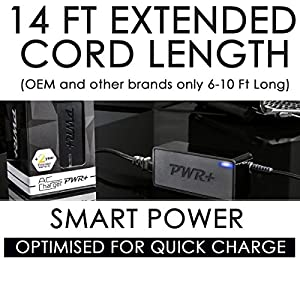 Pwr+ 90W Extra Long 14 Ft Laptop-AC-Adapter for Lenovo Thinkpad T400 T410 T420 T430 T430s T430u T530 T60 T61 T61p L412 L420 L430 L512 L530 R400 R61 T500 T510 T520; ThinkPad X1 X120e X131e X140e X220 X230; Edge 15 E430 E520 E530 E530C E545 W500 Twist S230U