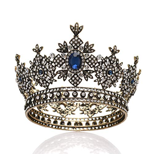 SWEETV Baroque Queen Crown for Women - Small Round Crown for Pageant, Photograph, Theater, Party - Royal Medieval Coronet and Scepter Costume Accessories ()
