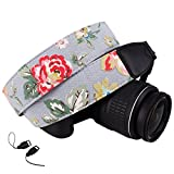 DSLR / SLR Camera Neck Shoulder Belt Strap - Wolven Cotton Canvas DSLR/SLR Camera Neck Shoulder Belt Strap for Nikon Canon Samsung Pentax Sony Olympus or Other Cameras - Grey Floral
