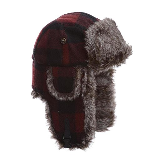 Mad Bomber Maroon Plaid Wool Pilot Aviator Hat Faux Fur Trapper Hunting Cap , -