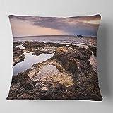 Designart CU11024-18-18 Rough Rocky Coastline Africa' Oversized Beach Throw Cushion Pillow Cover for Living Room, Sofa, 18'' x 18''