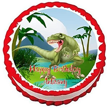 amazon com dinosaurs t rex edible frosting sheet cake topper 7 5