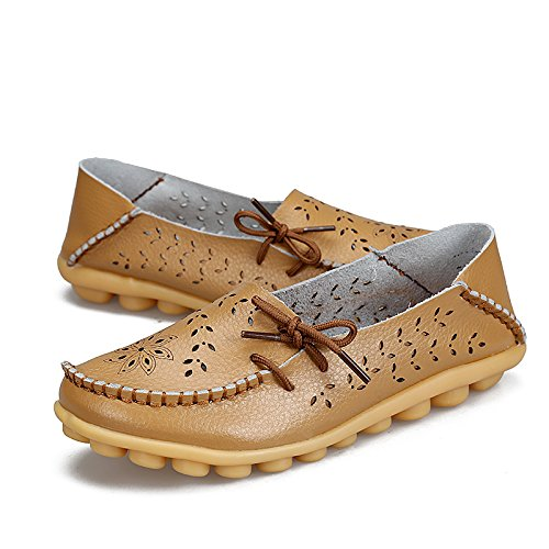 Loafers Flat Womens Slippers Slip Casual Leather Shoes Out Driving Cowhide Khaki Hollow on Ofenbuy RBx4nqPB