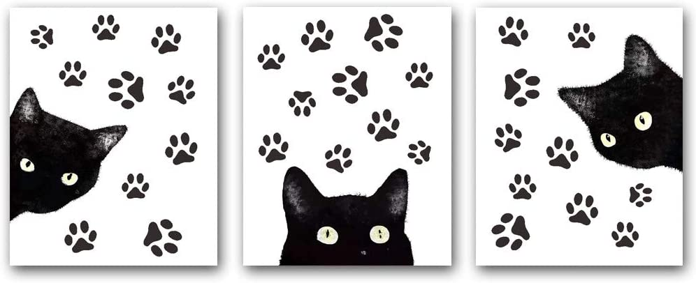 """Set of 3 Animal Cat Wall Art Prints,Fun Poster with Black Cat and Claw, Lovely Cat Wall Art Canvas for Living Room Home Decor.Gift.(Unframed,8""""X10""""inches)."""
