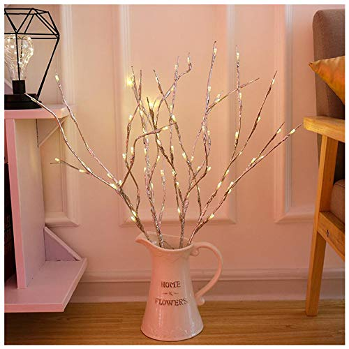 Naiflowers Willow Branch Lamp, Warm LED Floral Lights 20 Bulbs 30 Inches Battery Powered Decorative Light for Home Wedding Birthday Party Garden Festival Indoor Outdoor Decor (Silver)