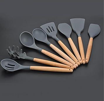 Silikon-Küchengeschirr Silikon-Kochgeschirr Mit Holzgriff Für Die Küche
