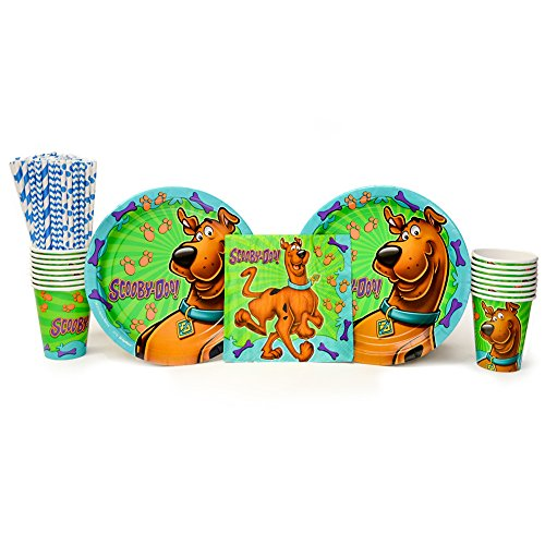 Cedar Crate Market Scooby Doo Party Supplies Pack for 16 Guests: Straws, Dinner Plates, Luncheon Napkins, and Cups -
