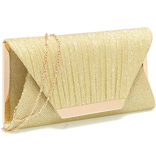 Gold clutch purses for women evening bags and clutches for women evening bag purses and handbags evening clutch purse(Gold)