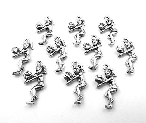 Volleyball Player Charm - Set of Ten (10) Silver Tone Pewter Girl Volleyball Player Charms