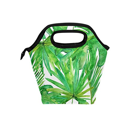 (JOYPRINT Lunch Box Bag, Tropical Palm Leaves Pattern Print Insulated Cooler Ice Lunchbox Tote Bag Handbag for Men Women Kids Adult Boys Girls )