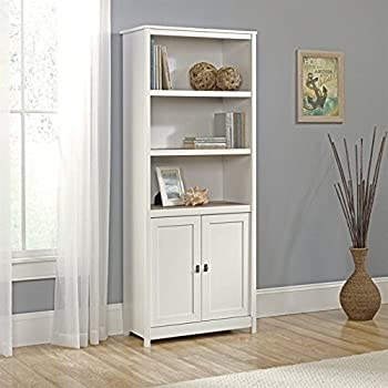 Sauder 417593 Bookcases, Furniture Cottage Road Soft White Library with Doors