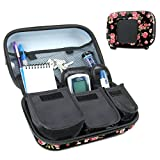 Diabetic Supplies Travel Case Organizer for Blood Glucose Monitoring Systems , Syringes , Pens , Insulin Vials & Lancets by USA Gear - ACCU-CHEK Nano , Bayer Contour , TRUEtest and More - Floral
