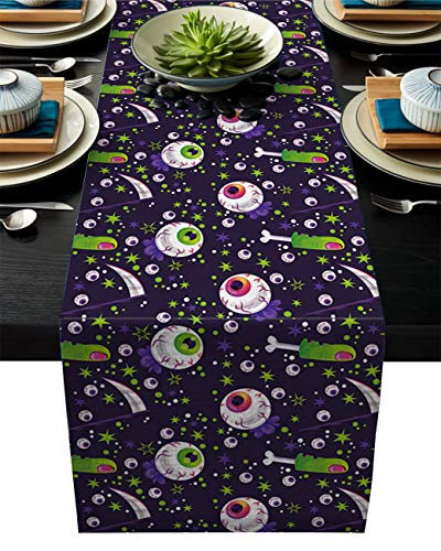 Olivefox Linen Burlap Table Runner, 14x72 Inch Farmhouse Table Runners for Summer Parties, Dining Room, Home Kitchen, Wedding Decorations - Machine Washable, Halloween Horro Eyeball
