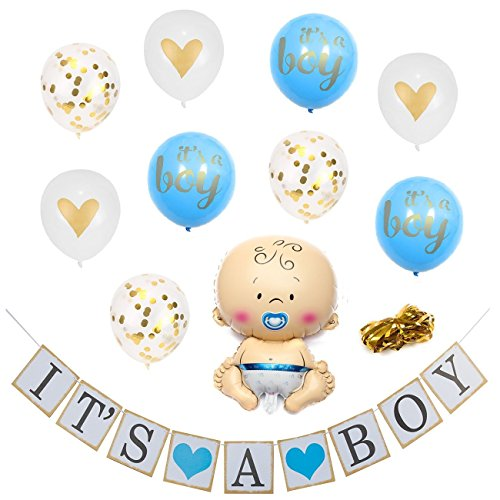 XERITA Baby Shower Decorations for Boy - Large Banner, Large 12 inch Latex Balloons, Ribbons - Party Kit for Gender Reveal Party (Blue & Gold)