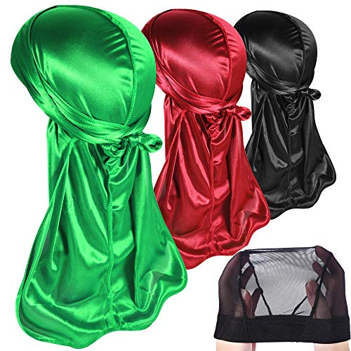 - 3PCS Silky Durags Pack for Men Waves, Satin Doo Rag, Award 1 Wave Cap,Style A