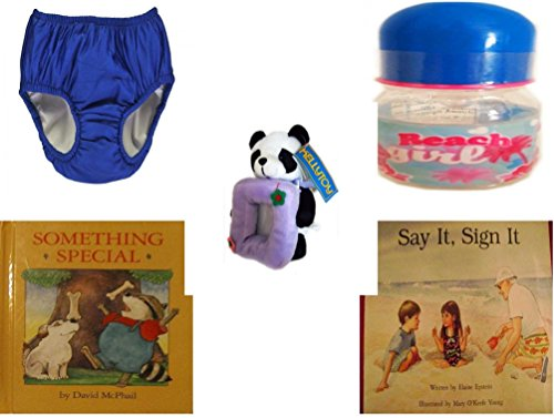 Children's Gift Bundle - Ages 0-2 [5 Piece] - My Pool Pal Reusable Swim Diaper, Royal Blue 24 Months, 18-25 Pounds - ID Gear Baby Bottle Beach Girl 4 oz - Kellytoy Panda Bear Photo Frame Plush 7'' - by Secure-Order-Marketplace Gift Bundles