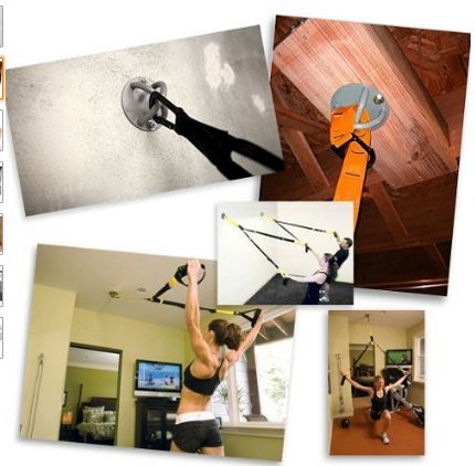 AbraFit Wall/ Ceiling Mount for Suspension Straps Crossfit Olympic Rings, Body Weight Strength Training Systems, Boxing Equipments (Black)