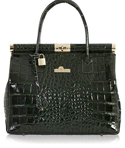 Satchel Gloss Shoulder Doctors Top Green Deep Strap Bag LAURA with Italian Croc LIATALIA Leather Genuine Handle Womens wxqOXwHA