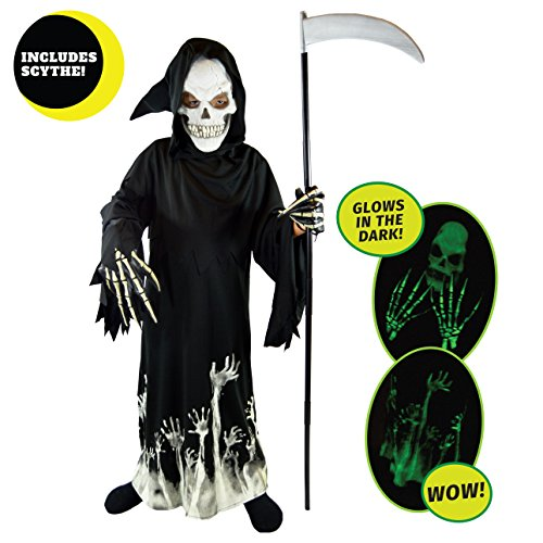 Boys Skeleton Halloween Costumes (Spooktacular Creations Deluxe Grim Reaper Children Costume Set (M(8-10)))